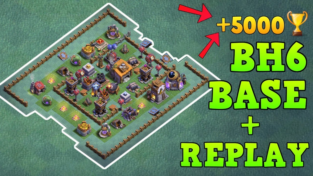 Best Builder Hall 6 Base 5000 Trophy W Proof Coc Bh6