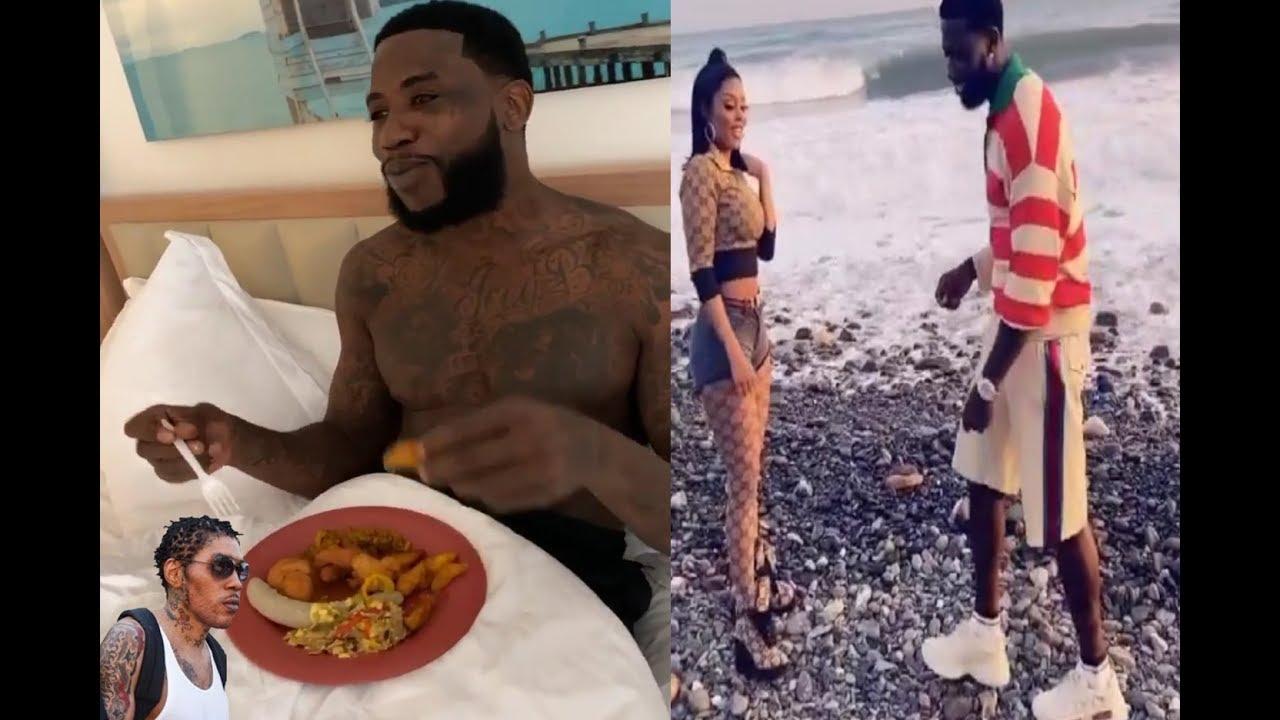 gucci mane in Jamaica eating dumplings with wife keyshia ka