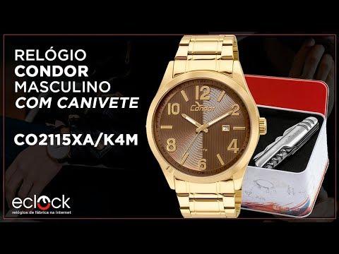 25f29144650 Kit Relógio Condor Masculino com Canivete CO2115XA K4M - Eclock - YouTube