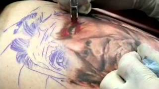 ronald reagan tattoo done with rapier rotary
