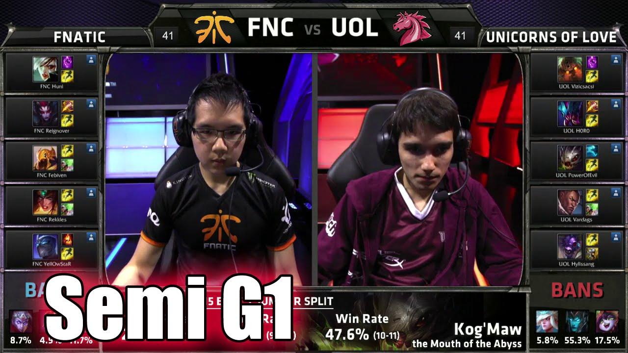 Fnatic vs Unicorns of Love   Game 1 Semi Finals S5 EU LCS