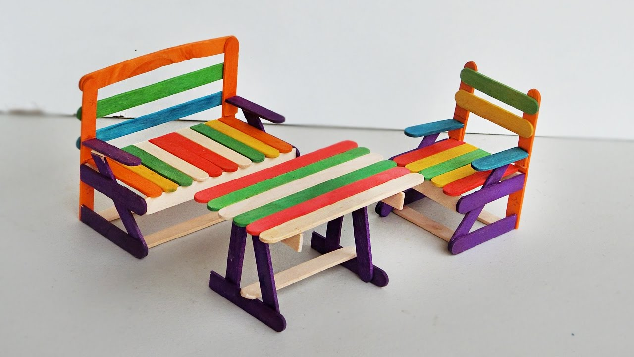 Popsicle Stick Crafts How To Make Outdoor Furniture Set Youtube