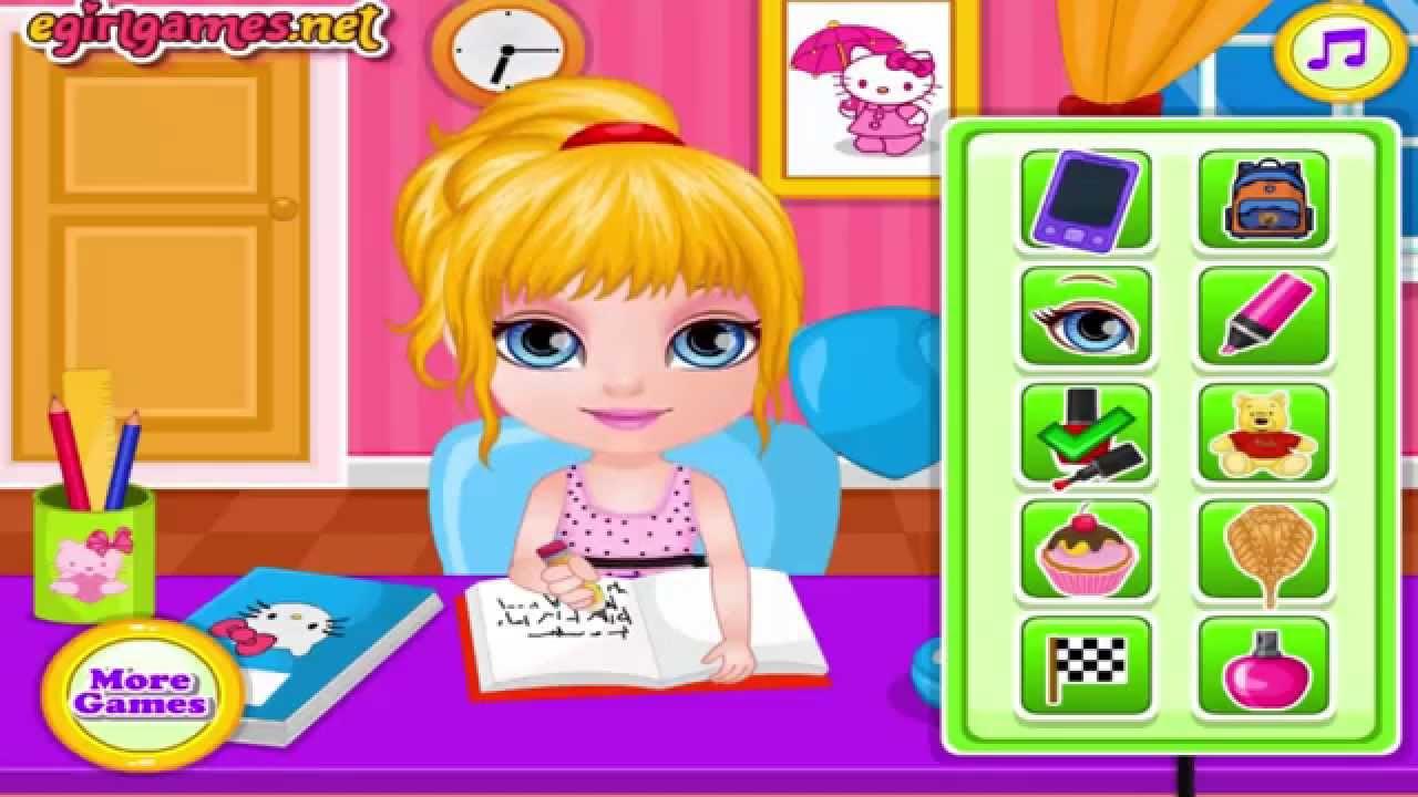 baby barbie homework slacking games