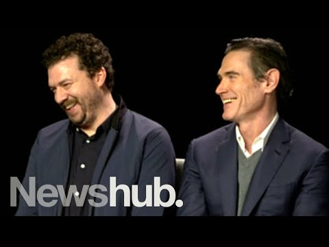 Danny McBride can't stop laughing at Billy Crudup during Alien: Covenant interview | Newshub