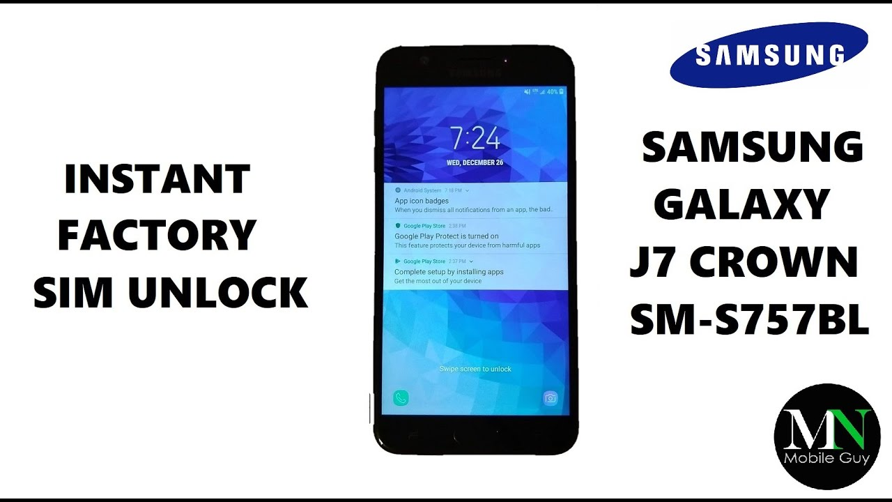 SIM Unlock Simple Mobile / Family Mobile Samsung Galaxy J7 Crown For Use On  GSM Carriers!