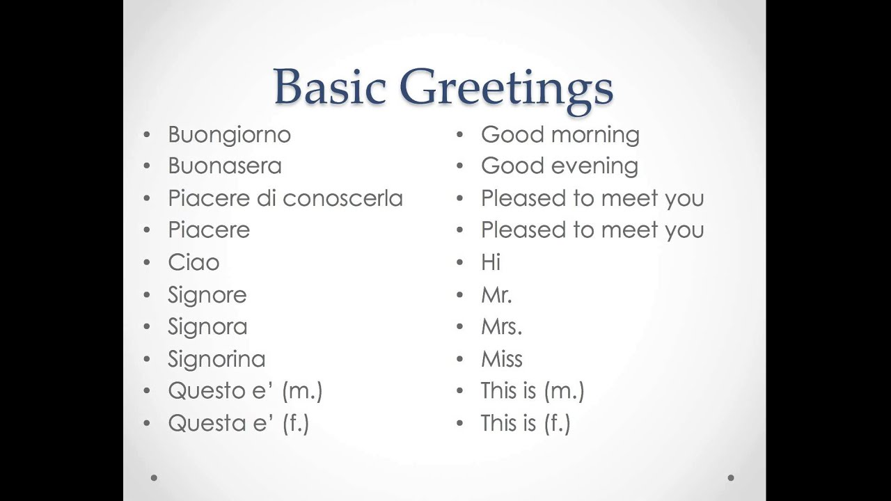 English In Italian: Italian Classroom-Greetings And Small Talk