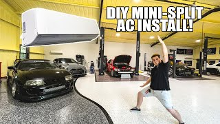 homepage tile video photo for Building a MASSIVE Shop in my Back Yard - DIY Mini-Split AIR CONDITIONING INSTALL! (MrCool)