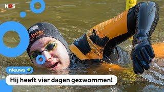 Het is 'm gelukt: Maarten zwemt de Elfstedentocht!