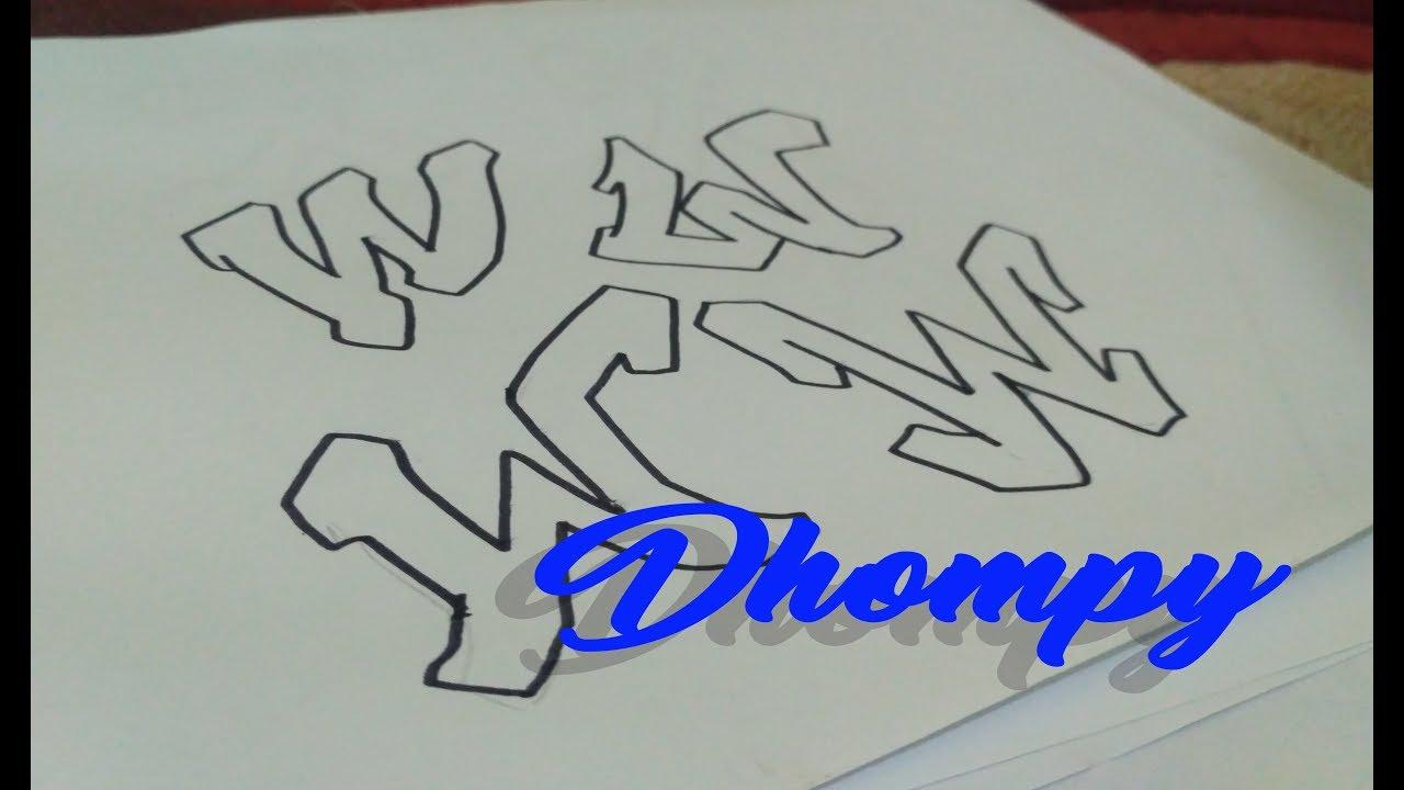 Graffiti abjad letter w dhompy graffiti