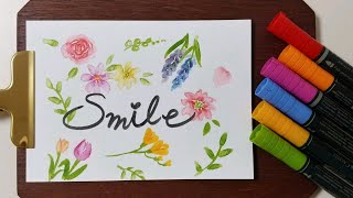 수채 마커로 그린 꽃그림 카드