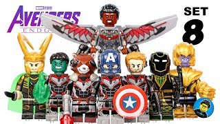 Avengers Endgame Set 8 Quantum Suits Unofficial Lego Minifigures w/ Hulk Falcon Ronin & Star-Lord