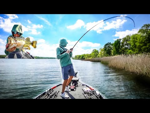 Spring Bass Fishing In A SMALL Lake With BIG FISH (Bed Fishing Sight Fishing)