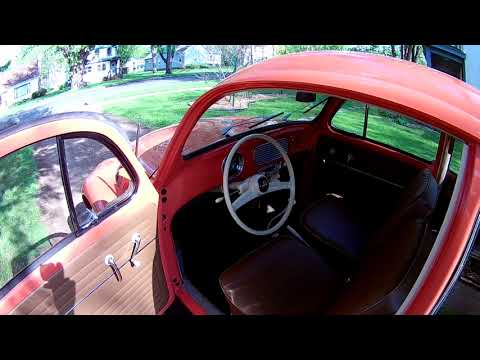 Coral red 1956 VW bug walk-around and start-up