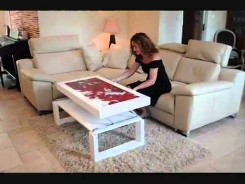 Table basse relevable youtube for Table rabattable murale conforama