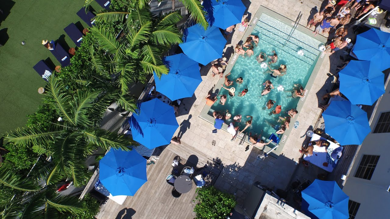 Aerial video miami beach pool party at catalina hotel rooftop youtube - Rectangle pool aerial view ...