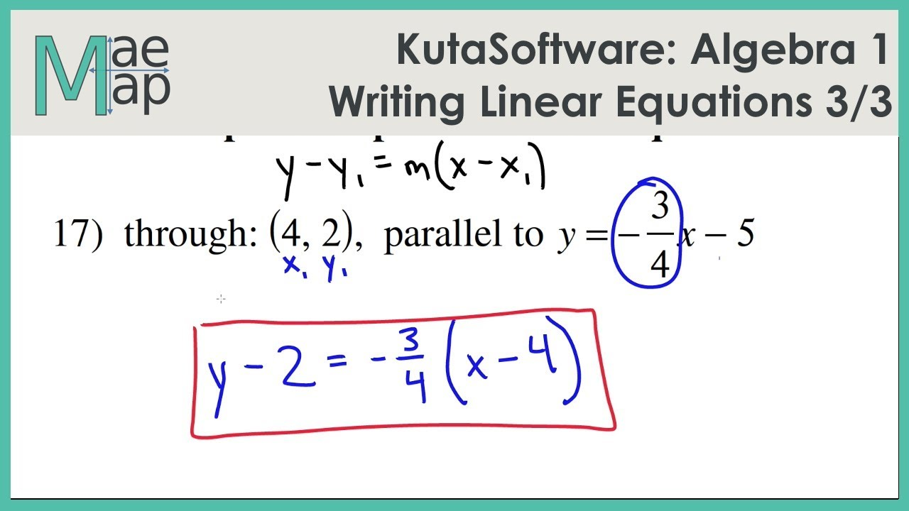 Kutasoftware Algebra 1 Writing Linear Equations Part 3 Youtube