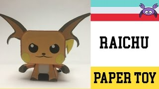 How to Make a Pokemon Raichu Paper Toy ( Papercraft ) (free template) by Becks Junkie
