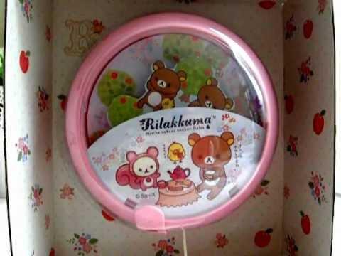 San-X Rilakkuma Relax Bear Musical Baby Crib Pull Toy Rotating Picture Music Box