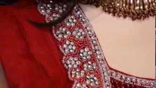 Red with crystal and silver hem net anarkali Thumbnail