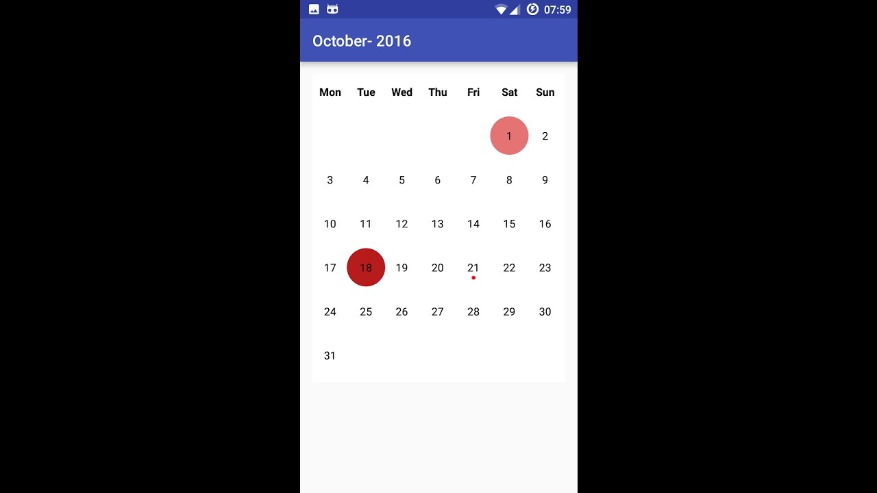 Android Studio Calendar to Highlight Events No API Required