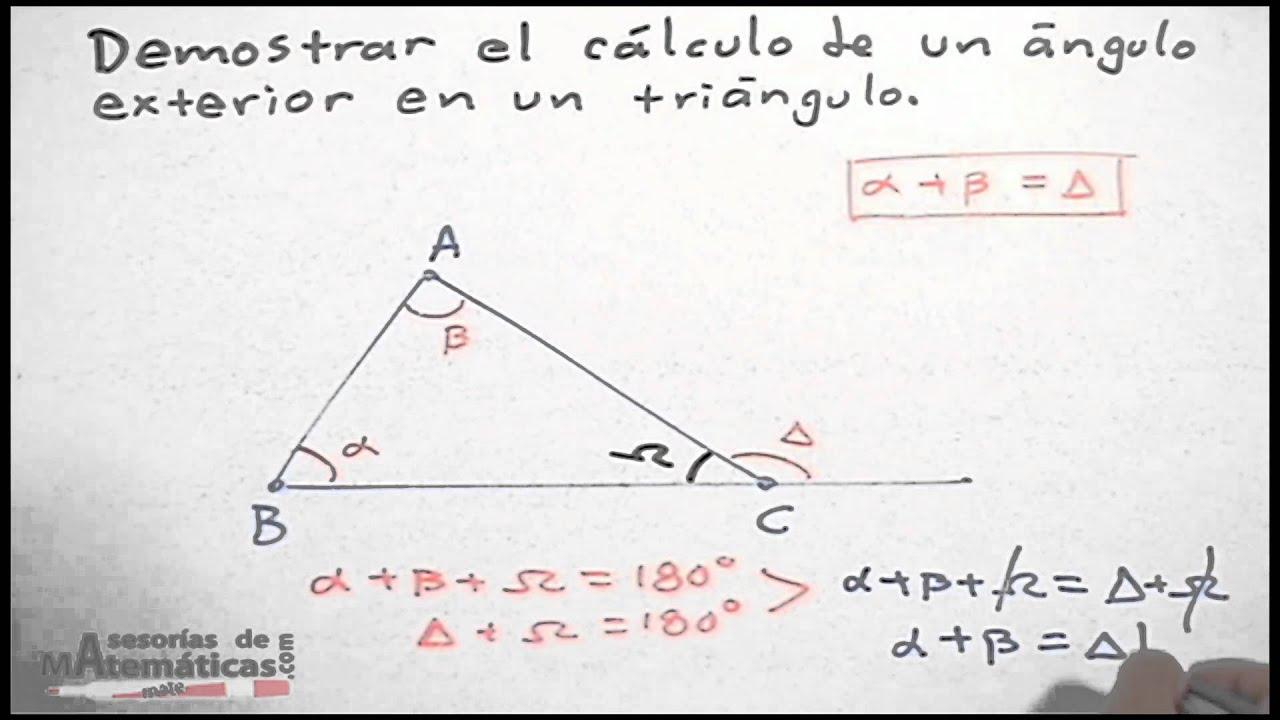 Cálculo De Un ángulo Exterior De Un Triángulo Hd Youtube
