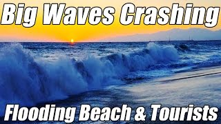 BIG WAVES Crashing on LA Beach & Tourists from Cabo San Lucas Hurricane dangerous flooding by iPhone