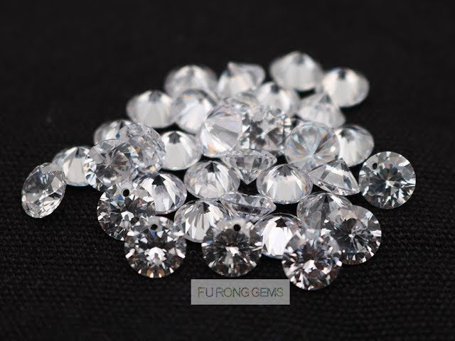 White Cubic Zirconia Faceted diamond cut Gemstones with drilled hole through for sale