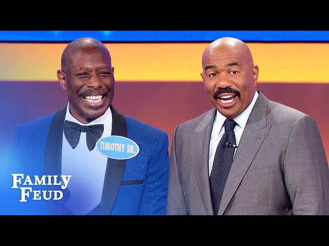 Steve Harvey is dazzled by Pastor Timothy's jacket! | Family Feud