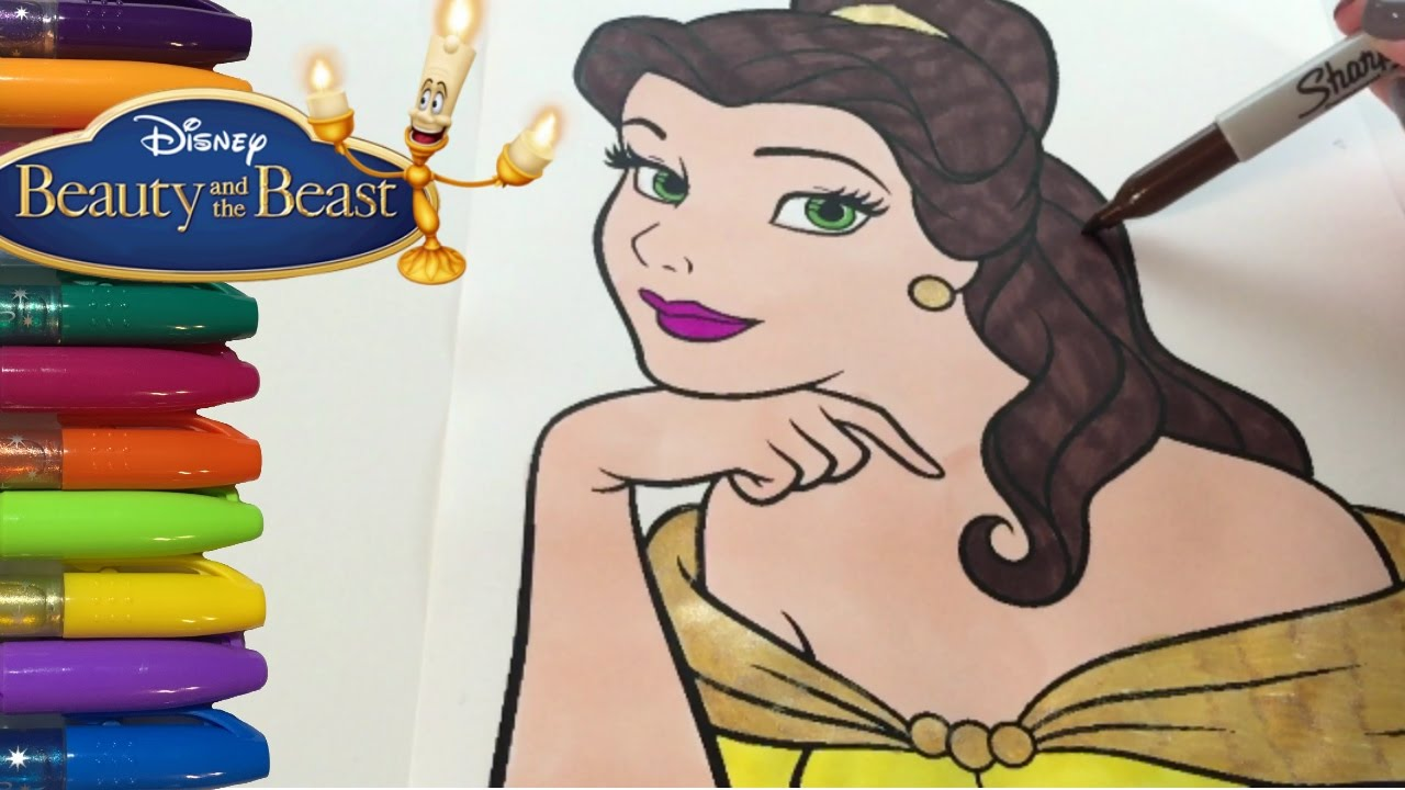 Coloring Pages Of Princess Belle : Princess belle beauty and the beast coloring pages youtube