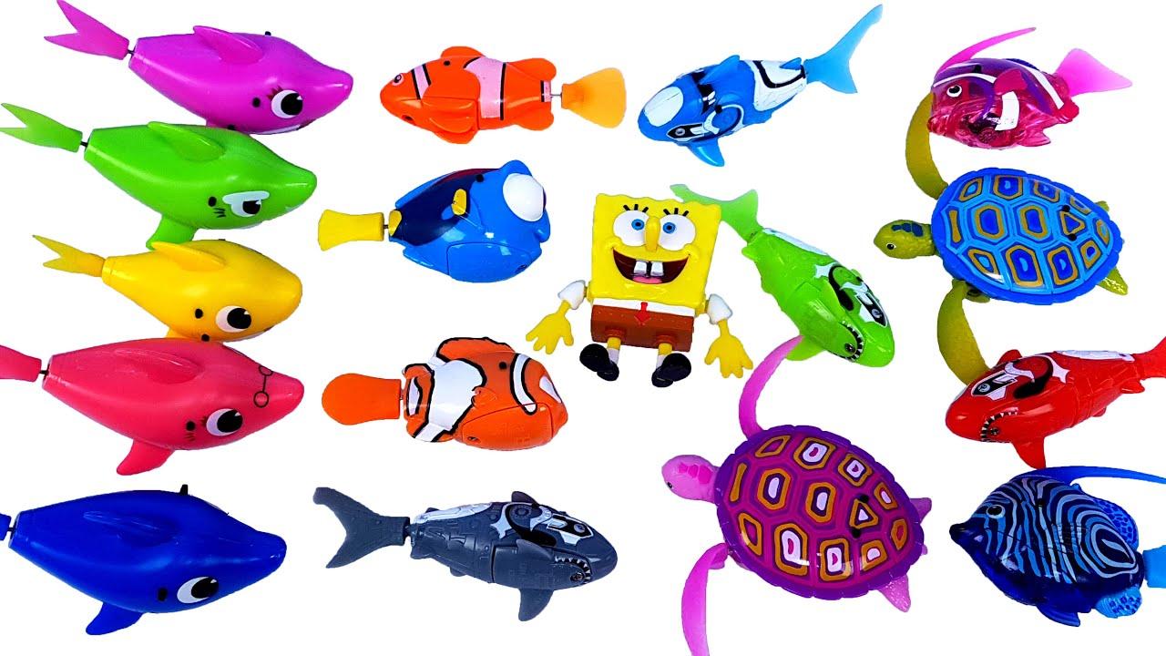 헤엄치는 물고기 장난감 핑크퐁 아기상어 도리를 찾아서 스폰지밥 열대어 로보피쉬 물놀이