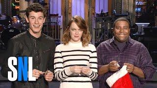 SNL Host Emma Stone, Shawn Mendes and Kenan Thompson Play Secret Santa
