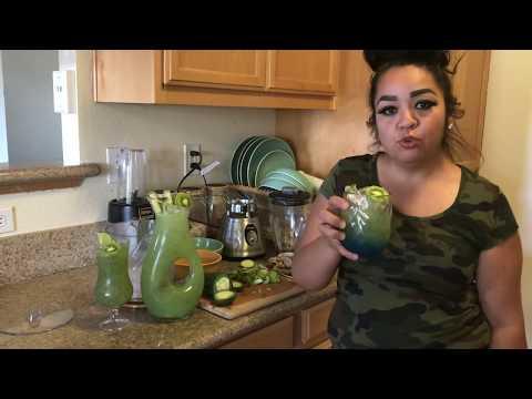Agua de pepino refrescante spa con quiwi