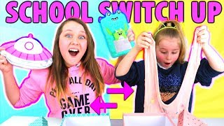 BACK TO SCHOOL SWITCH UP CHALLENGE!! Slime VS Supplies