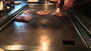 Chef Cooking Meat at Hibachi Japanese Steakhouse Restaurant ~ Steak Shrimp Chicken