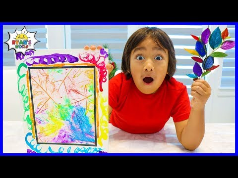 How to Make DIY Coloring Leaf Rubbing Art with Ryan's World!!!