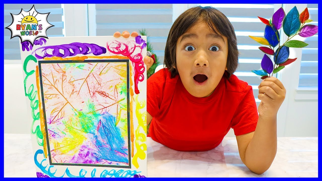 How to Make DIY Coloring Leaf Rubbing Art with Ryans World!!!