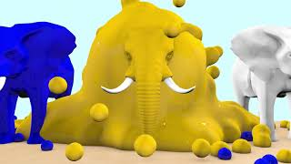 Elephant Cartoons Coloring with Color water 3D - Learn Colors for Children Kids with Color Elephants