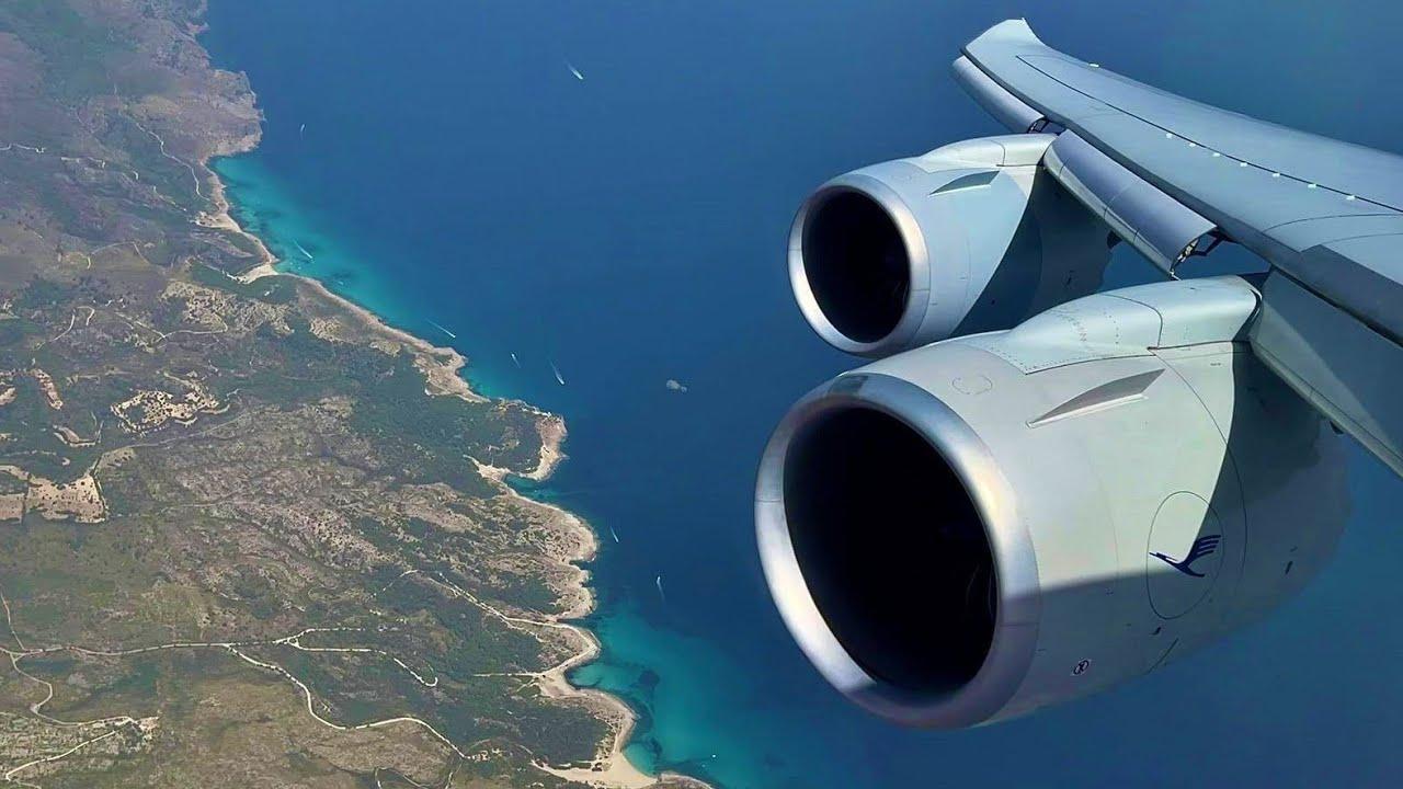 [ 4K ] Lufthansa (Business) Boeing 747-8 landing Palma de Mallorca Airport PMI from Frankfurt FRA