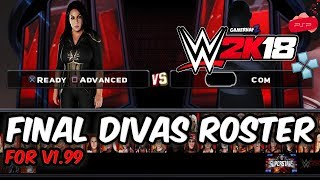 WWE 2K18 PSP, Android/PPSSPP - Final Divas Roster for v1.99 in an AIO Royal Rumble Match