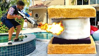 FLAMETHROWER vs GIANT CANDY CHALLENGE! 🔥🍫🍬
