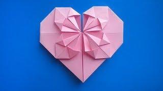 оригами сердце с цветком, origami heart with a flower