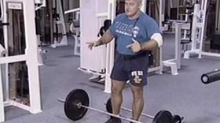 видео Тяга штанги в наклоне к поясу прямым и обратным хватом