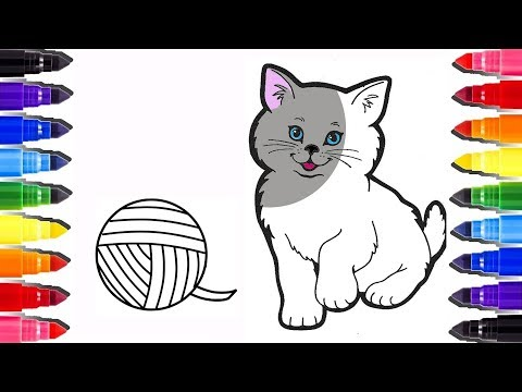 Coloriage Chat Mignon   How To Draw A Cat Coloring Pages   Learn Colours