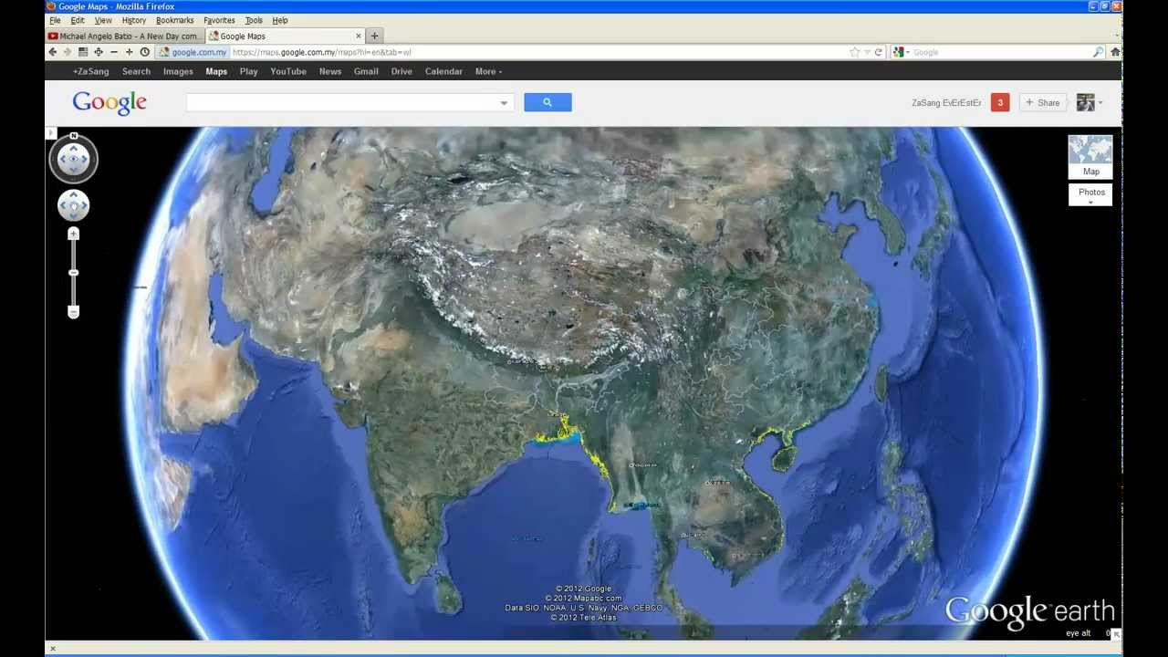 ANLANGH KHUA Google Earth Satellite View In Video YouTube - World map satellite view video