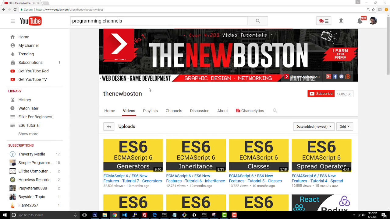Image result for TheNewBoston youtube channel homepage