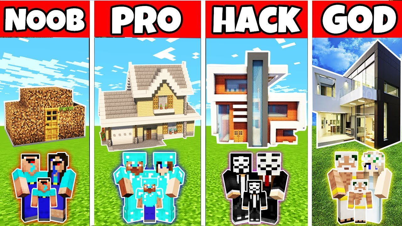Minecraft: FAMILY AWESOME GREAT HOUSE BUILD CHALLENGE - NOOB vs PRO vs HACKER vs GOD in Minecraft