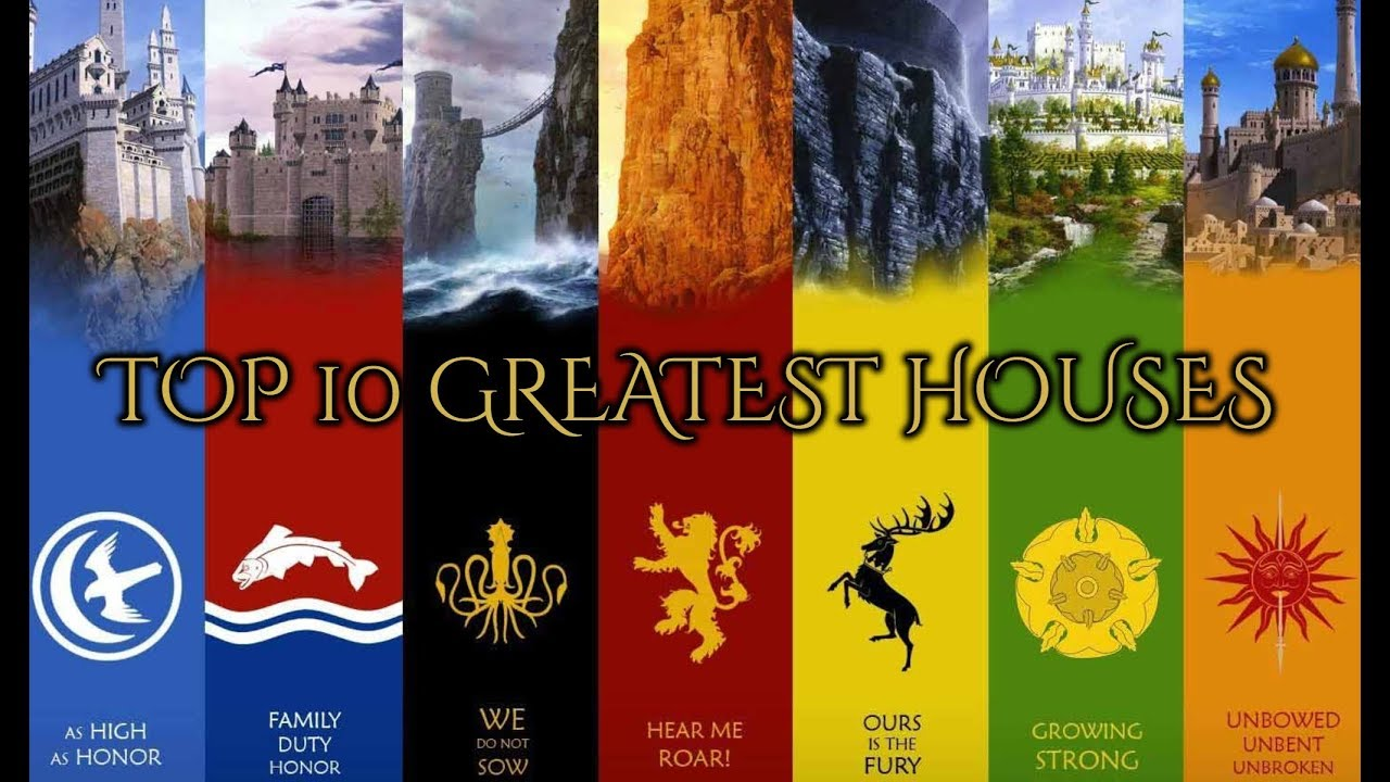 Top 10 Game Of Thrones Main Houses With House Themes Youtube