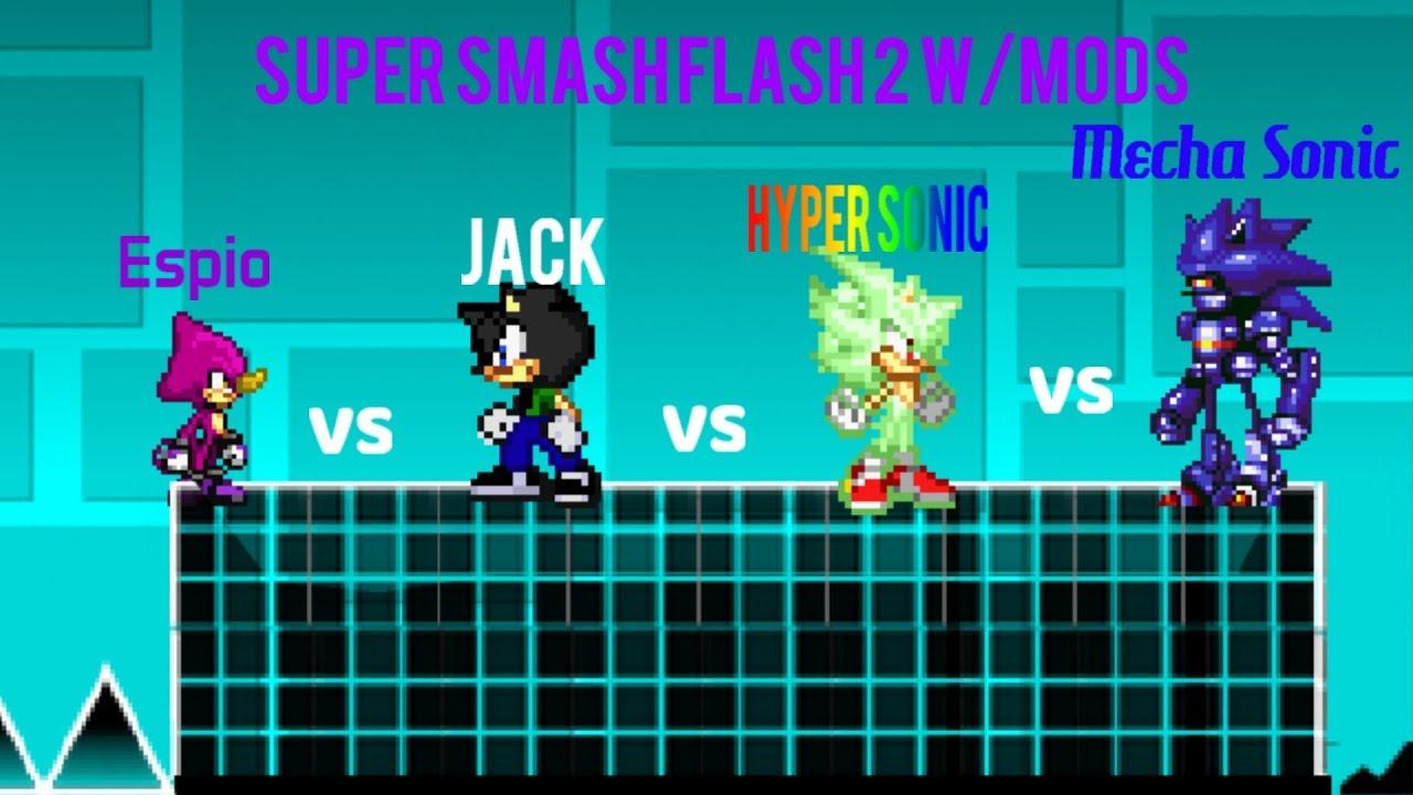 Super Smash Flash 2 Wmods Jack Vs Espio Vs Hyper Sonic Vs Mecha