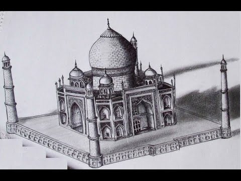 3d taj mahal drawing youtube