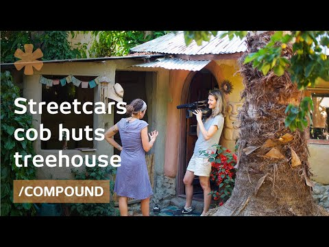 Family home in converted streetcars DIY treehouse  cob